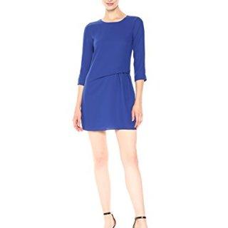 A|X Armani Exchange Women's 3/4 Sleeve Tie Detailed Twill Shift Dress, Ultramarine, 2