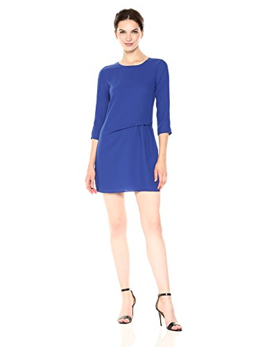 A|X Armani Exchange Women's 3/4 Sleeve Tie Detailed Twill Shift Dress, Ultramarine, 2