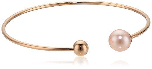 Majorica 8MM Round Pink Pearl Titanium Bangle Bracelet
