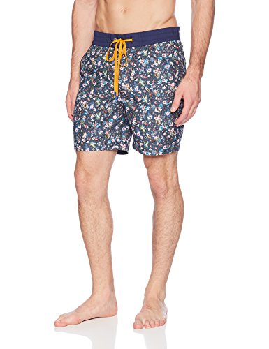 Robert Graham Men's Gali Woven Swim Trunk, Indigo, 40