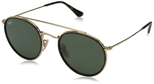 Ray-Ban Metal Unisex Round Sunglasses, Gold, 51.2 mm