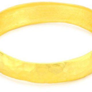Kenneth Jay Lane Satin Gold-Plated Hammered Bangle Bracelet