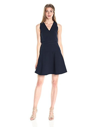 A|X Armani Exchange Women's Cotton Dobby Fit and Flare Dress, Navy, 6