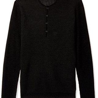 John Varvatos Men's Long Sleeve Henley, Black, Large