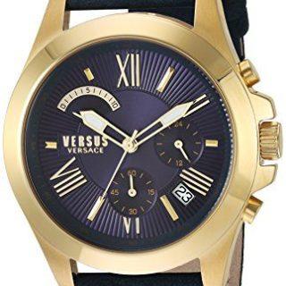 Versus by Versace Men's 'Chrono Lion Extension' Quartz Gold-Tone and Leather Watch, Color:Blue