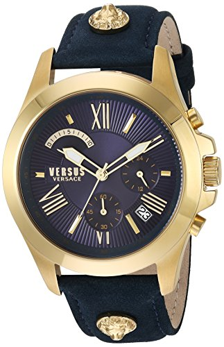 Versus by Versace Men's 'Chrono Lion Extension' Quartz Gold-Tone and Leather Watch, Color:Blue