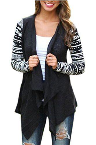 Relipop Women Black and White Striped Long Cardigan Loose Jacket (X-Large, #2 Black)