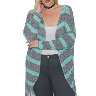 Hot Ginger Women's Plus Size Long Sleeve Ribbed Open Front Cardigan, Mint Grey Stripe, 2X