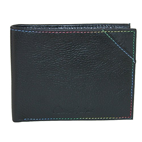 Robert Graham Men's Leather Bifold Wallet with Embossed Detail, Black