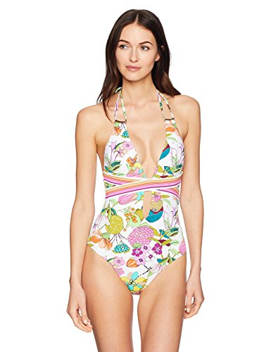 Trina Turk Women's Halter V-Neck Front Keyhole One Piece Swimsuit, White/Floral/Key West Botanical Print, 6