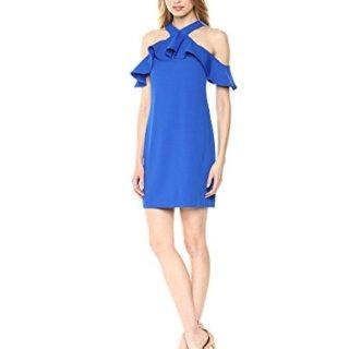 Trina Trina Turk Women's Jurnee Ruffle Cold Shoulder Dress, Blue, 2