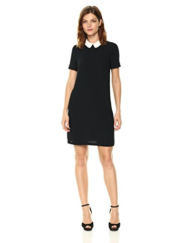 A|X Armani Exchange Women's Short Sleeve Collared Dress, Black, 8