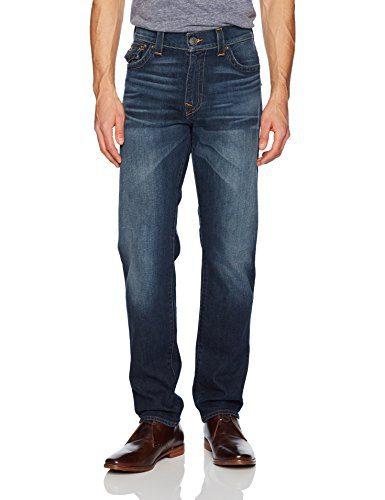 True Religion Men's Geno Slim Straight Jeans and Back Flap Pockets, Blue Cascade, 29