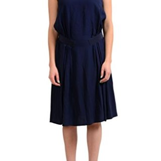 Salvatore Ferragamo Silk Navy Sleeveless Women's Sheath Dress US S IT 40