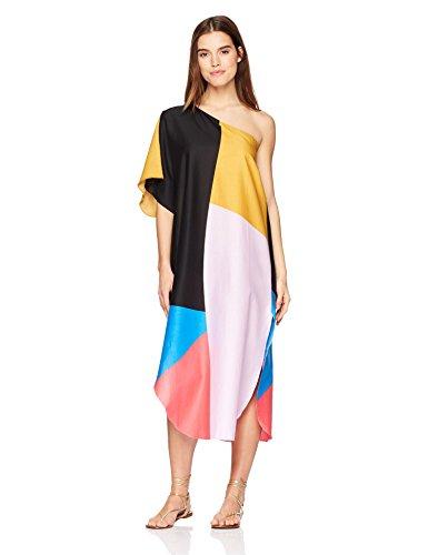Mara Hoffman Women's Noa One Shoulder Cover up Dress, Chapiteau Blue/Multi, Medium/Large