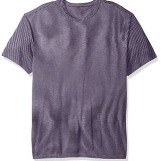 John Varvatos Men's Striped Short Sleeve Linen T-Shirt, Iris, XX-Large