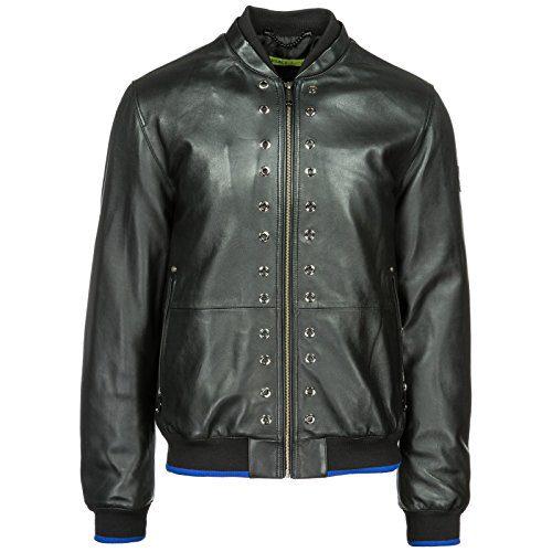 Versace Jeans Men's Leather Outerwear Jacket Blouson Black US Size 48 (US 38)