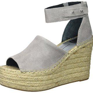 Dolce Vita Women's Straw Wedge Sandal, Smoke Suede, 6.5 Medium US