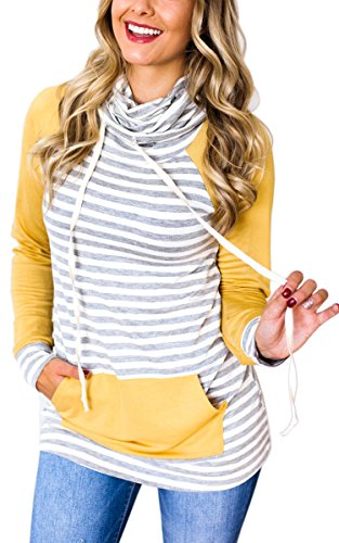 ECOWISH Womens Cowl Neck Stitching Striped Pullover Hoodies Drawstring Long Sleeve Pocket Casual Sweatshirts,US S,Yellow