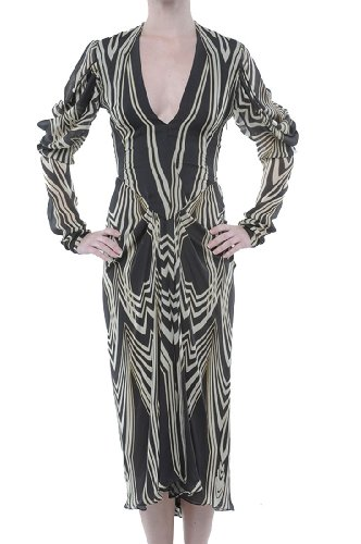 Roberto Cavalli - Dress Silk Black Yellow, 40, Multicolor