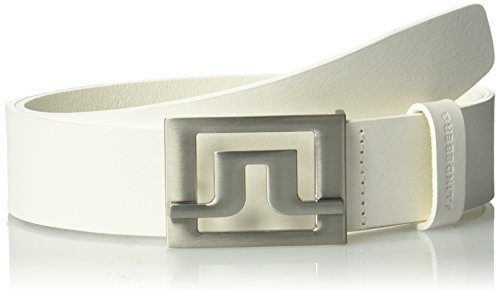 J.lindeberg Men's Slater 40 White Leather Belt, white, 95