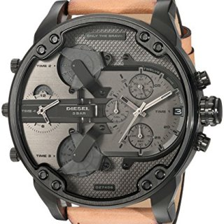 Diesel Men's Mr Daddy 2.0 Quartz Stainless Steel and Leather Chronograph Watch, Color Black, Brown (Model: DZ7406)
