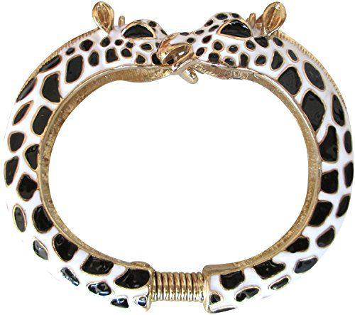 Kenneth Jay Lane Black & White Giraffe Enamel Bypass Bangle Bracelet