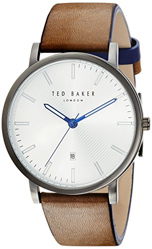 Ted Baker Men's 'DEAN' Quartz Stainless Steel and Leather Casual Watch, Color:Black