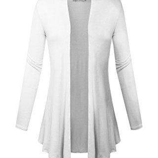BIADANI Women Open Front Lightweight Cardigan White Large