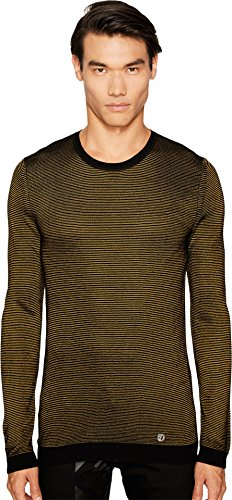 Versace Collection Men's Stripe Knit Sweater Black/Mustard Sweater