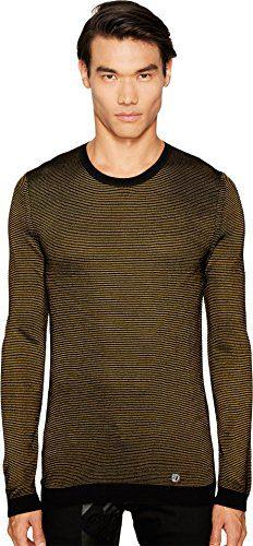 Versace Collection Men's Stripe Knit Sweater Black/Mustard Sweater