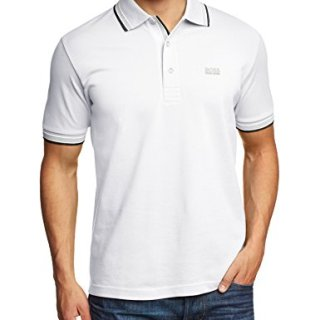 HUGO BOSS GREEN Men's Classic Polo T-shirt PADDY M White