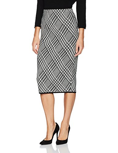 Trina Turk Women's Robertson Wool Knit Plaid Skirt, Black/White Wash, XS
