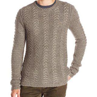 John Varvatos Men's Long Sleeve Crewneck Sweater, Balsam Heather, X-Large