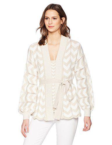 Trina Turk Women's Pine Sweater, Sand/White Wash, Small