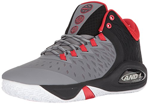 AND1 Men's Attack Mid Basketball Shoe, December Sky/Black/Fiery Red, 9 M US