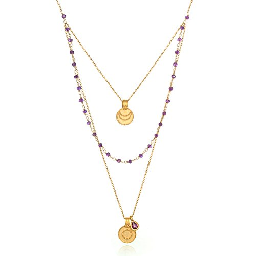 Satya Jewelry Women's Amethyst Gold Sun & Moon Triple Chain Pendant Necklace 22-Inch, Purple, One Size
