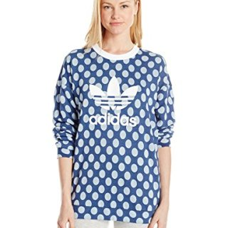 adidas Originals Women's Tops Trefoil Crew Sweater, Real Blue/Pearl Opal/Dot Print, X-Large