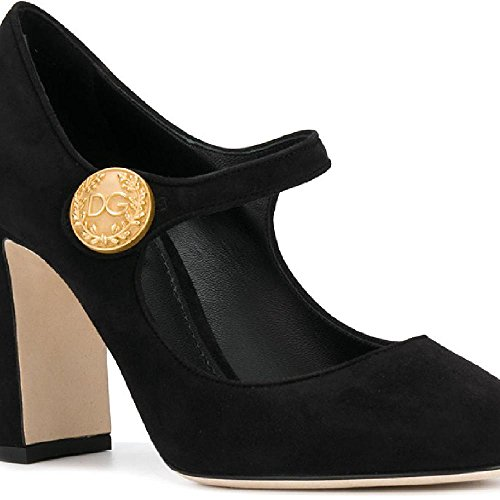 Dolce & Gabbana Women's Black Suede Leather Pumps - Heels Shoes - Size: 38 EU