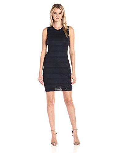 A|X Armani Exchange Women's Crew Neck Sleeveless Mesh Overlay Detail Bodycon Dress, Navy, Small