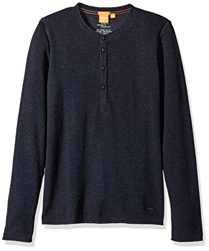 BOSS Orange Men's Topsider Henley, Dark Blue, Large