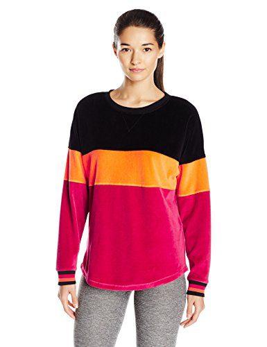 Trina Turk Recreation Women's Velour Track Sweatshirt, Wine, L