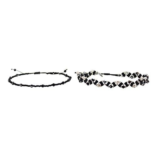 Chan Luu Black Mix Friendship Bracelets - Set of 2