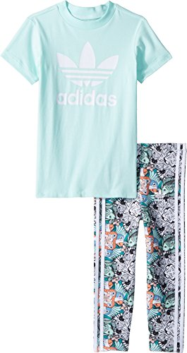 adidas Originals Kids Baby Girl's Zoo Tee Leggings Set (Infant/Toddler) Clear Mint/White/Multicolor/White 2T Toddler