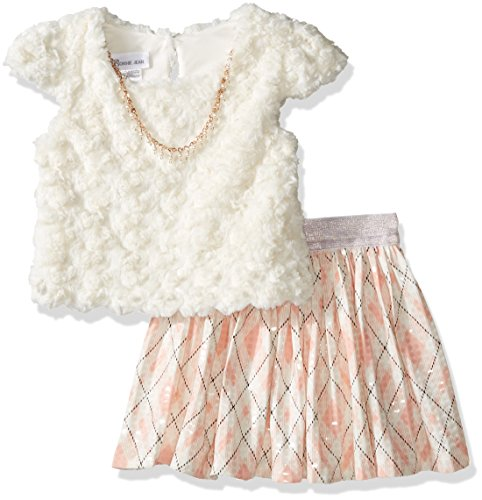 Bonnie Jean Little Girls' Fuzzy Knit Top and Spangled Plaid Skirt, Pink, 5