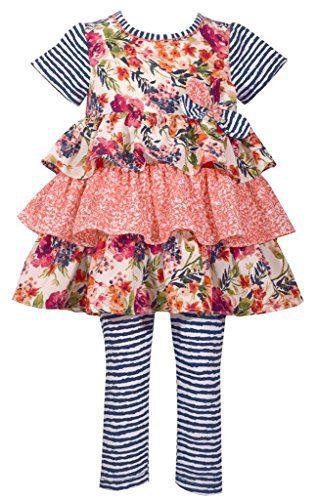 Bonnie Jean Toddler Girls' Fashion Legging Set, Navy/Coral Ruffles, 3T