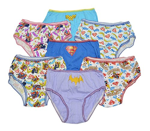 DC Girls Super Hero Hipsters Pack of 7 Underwear Size 8 Supergirl Batgirl