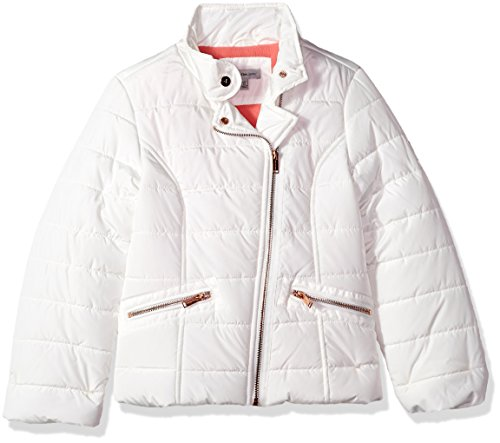 Calvin Klein Big Girls' Biker Puffer, Cream, Large (12/14)