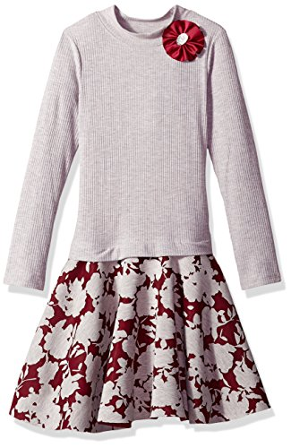 Bonnie Jean Big Girls' Long Sleeve Sweater to Skirt Dress, Grey/Burgundy, 12