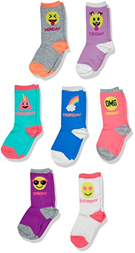 The Children's Place Toddler Girls' Crew Socks (Pack of 7), Multi, S 11-13